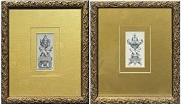 Sale 9103 - Lot 2017 - Pair of Antique French Objet dArt Engravings in gilt floral frames, 28 x 24cn, each -