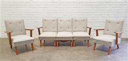 Sale 9117 - Lot 1015 - Vintage Australian-made five piece lounge suite of two armchairs & three seater (h78 x w64 x d65cm)