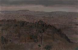 Sale 9133 - Lot 514 - Clem Millward (1929 - ) Western Slopes, 1975 oil on canvas laid on board 59.5 x 92 cm (frame: 74 x 107 x 4 cm) signed lower left