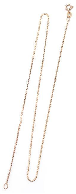 Sale 9169 - Lot 375 - A 9CT GOLD SCROLL CHAIN; 1.2mm wide chain with bolt ring clasp, length 41cm, wt. 2.30g.