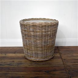 Sale 9250T - Lot 65 - A split kubu rattan & fruitwood side table/stool in grey wash. Height 48cm x Width 49cm x Depth 49cm