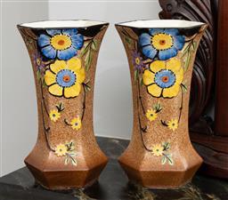 Sale 9256H - Lot 16 - A pair of English FF & Sons Burslem Lincrusta pottery floral hexagonal mantle vases, H 20.5cm.