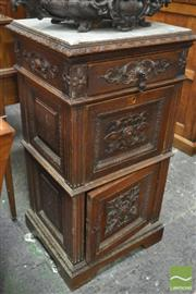 Sale 8317 - Lot 1037 - Antique French Renaissance-Style Carved Oak Bedside Cabinet with Marble Top (cracked) above a Drawer, Fall-Front & Panel Door