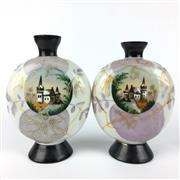 Sale 8607R - Lot 10 - Pair of Handpainted Milk Glass Vases Depicting Manor Scenes (H: 20cm)