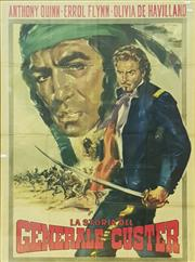 Sale 8661 - Lot 1014 - An Italian Framed Movie Poster General Custer in Gilt Frame