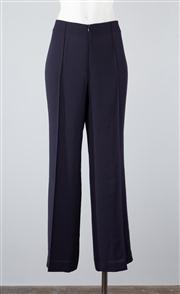 Sale 8685F - Lot 97 - A pair of Carla Zampatti navy polyester pants, size AUS 8