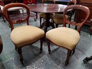 Sale 8792 - Lot 1029 - Set of Four Victorian Mahogany Balloon Back Dining Chairs, with gold lattice upholstery and turned legs