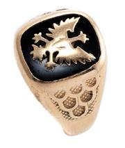 Sale 8899 - Lot 344 - A 9CT GOLD STONE SET GENTS CREST RING; onyx plaque applied with a gold eagle to tapered shank, size U1/2, wt. 6.08g.