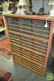 Sale 8337 - Lot 1054 - Metal Filing Unit w 3 Rows of 16 Compartments