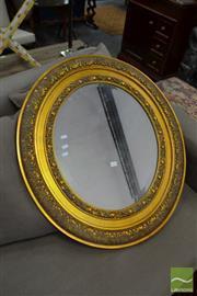 Sale 8480 - Lot 1176 - Gilt Framed Bevelled Edge Oval Mirror