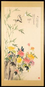 Sale 8594D - Lot 10 - Framed Chinese Painting of Bird and Flower Scene