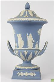 Sale 8604W - Lot 36 - Wedgwood Pale Blue Jasperware Lidded Urn (H:27cm)