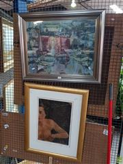 Sale 8619 - Lot 2094 - 2 Works: Artist Unknown - Her Mistress, Mixed Media, SLR, 111 & a Framed Boating Print