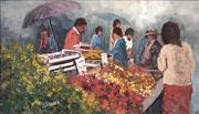 Sale 8764A - Lot 5098 - John Vander (1945 - ) - At Fruit Stall 21 x 35cm