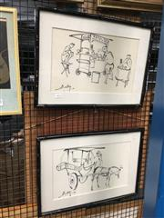 Sale 8752 - Lot 2074 - 2 Works: Beky - Horse & Cart & Lunchtime, sketch on fabric, SLL