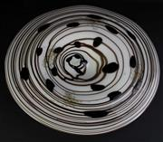Sale 8972 - Lot 45 - Large art glass centre platter with brown swirls and gold inserts (W55.5cm)