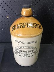 Sale 9022 - Lot 1090 - Ceramic Sharpe Bros Brewers Demijohn Complete With Cap & Metal Handle
