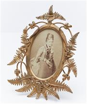 Sale 9080W - Lot 37 - A Victorian oval photo frame with gilt  fern embellishment Height 14cm