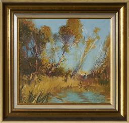 Sale 9101 - Lot 2008 - Dixon Copes (1914 - 2002) - At the Waters Edge 31 x 35.5 cm (frame: 45 x 49 x 5 cm)