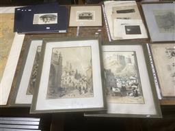 Sale 9113 - Lot 2076 - Samuel Swarbreck Edinburgh Castle The North Bridge & Gaol Government House handcoloured lithographs, (a.f. - foxing), frame: 54 x...