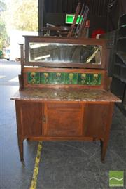 Sale 8390 - Lot 1330 - Marble Top Mirrored Back Wash Stand