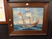 Sale 8417T - Lot 2063 - Artist Unknown - Dutch Sailing Ship, oil on board (AF), 33.5 x 43cm, signed lower left