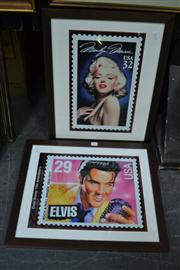 Sale 8441T - Lot 2017 - Pair of Framed Posters of Elvis and Marilyn Monroe
