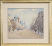 Sale 8459 - Lot 571 - Rah Fizelle (1891 - 1964) - Collins St. Melbourne 33.5 x 41cm