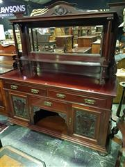 Sale 8653 - Lot 1017 - Edwardian Walnut Sideboard, with high mirror back & shelf, with three drawers, alcove & two carved panel doors