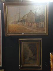 Sale 8663 - Lot 2039 - 2 Works: William D Hogfledge - Urban Town Scene 1971, 46 x 61cm, signed lower right & a Framed Silk Tapestry
