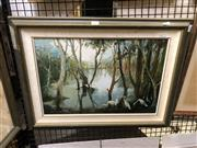 Sale 8903 - Lot 2039 - Keith Naughton  Shadows in the Wetland, oil on board, signed