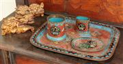 Sale 8976H - Lot 6 - A Japanese cloisonne smokers set together with a pair of carved gilt foo dogs, The tray 23cm