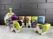Sale 9056 - Lot 1087 - Post Modern Ceramic Visage 8 Piece Tea Set (h:25cm)