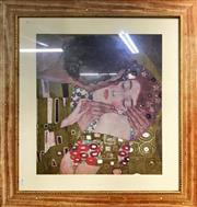 Sale 9072 - Lot 2040 - Gustav Klimt The Kiss decorative print after original, 75 x 85cm (frame)