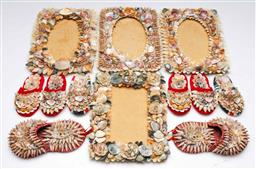 Sale 9156 - Lot 28 - Collection of shell decorated wares inc miniature flips and frames (21cm x 16cm)
