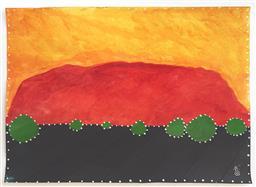 Sale 9249A - Lot 5057 - MACKENZIE THORPE (1956 - ) Uluru, 2014 mixed media on paper 39 x 49 cm (frame: 66 x 75 cm) signed lower right