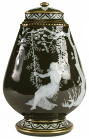 Sale 8387 - Lot 98 - Pâte-sur-pâte Lidded Vase