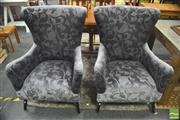 Sale 8406 - Lot 1023 - Pair of Fabric Upholstered Wing Back Armchairs