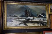 Sale 8410T - Lot 2063 - Artist Unknown (XX) - Figures in Winterscape 63 x 118cm