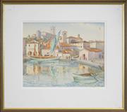 Sale 8459 - Lot 570 - Rah Fizelle (1891 - 1964) - Mediterranean Port Scene 32.5 x 41cm