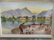 Sale 8582 - Lot 2065 - Artist Unknown (European School), Cafe, oil on canvas, 75 x 121cm, signed lower right