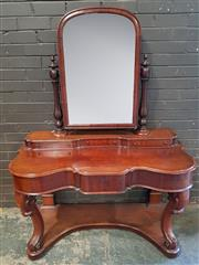 Sale 8976 - Lot 1021 - Victorian Mahogany Dressing Table, with turned supports, three trinket & one frieze drawer, raised on cabriole legs (H:170 x W:128 x...