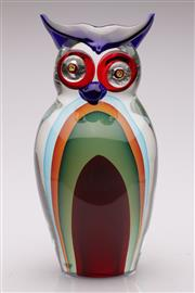 Sale 9056 - Lot 1018 - Large Venetian Six Colour Sommerso Figure of an Owl by Romano Dona for Murano, Signed and dated to base (h:36cm)