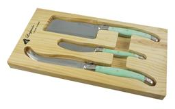 Sale 9080K - Lot 86 - Laguiole by Louis Thiers 3-Piece Cheese Set - marbled teal handles