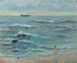 Sale 9099A - Lot 5060 - Richard Ashton (1913 - 2001) - Bather on the Beach, Brighton Le Sands 22 x 27 cm (frame: 34 x 39 x 3 cm)
