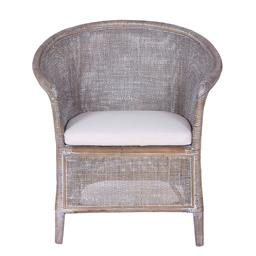 Sale 9250T - Lot 69 - A pair of rattan armchairs in grey wash with fabric cushion. Height 80cm x Width 74cm x Depth 62cm