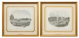 Sale 9256H - Lot 43 - A pair of gilt framed View of Sydney; Customs House & Milsons Point, hand coloured engravings, 20.5cm x 22cm.
