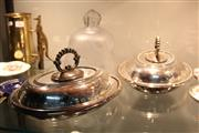 Sale 8346 - Lot 85 - Silver Plated Tureens & a Glass Bell