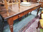 Sale 8416 - Lot 1047 - 19th Century Cedar Long Kitchen Table, with two plank top, fitted drawer to one corner & turned legs