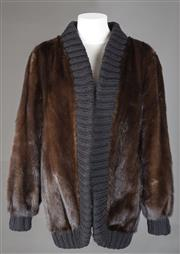 Sale 8493A - Lot 24 - A chocolate mink coat with black wool trim, vintage, size 10